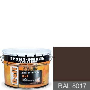 """Фото 1 - Грунт-Эмаль по ржавчине Дали """"RAL 8017 Шоколадно-коричневый"""" Гладкая глянцевая для металла 3в1 [10л] Dali."""