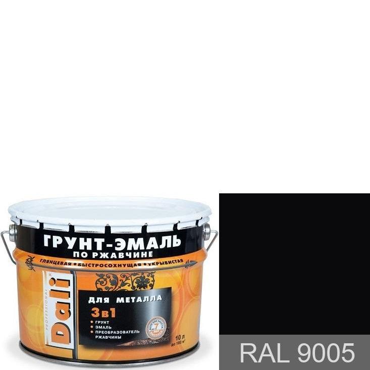 """Фото 1 - Грунт-Эмаль по ржавчине Дали """"RAL 9005 Черный янтарь Гладкая"""", глянцевая для металла 3 в 1  [10л] Dali."""