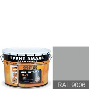 """Фото 19 - Грунт-Эмаль по ржавчине Дали """"RAL 9006 Алюминий Гладкая"""", глянцевая для металла 3 в 1  [10л] Dali."""