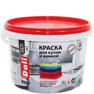 """Фото 2 - Краска Дали """"для Кухни и Ванной"""" акриловая глубокоматовая моющаяся для стен и потолков  [9л] Dali."""