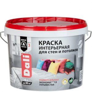 """Фото 4 - Краска Дали """"Интерьерная"""" акриловая глубокоматовая супербелая для стен и потолков  [9л] Dali."""