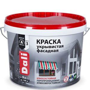 """Фото 3 - Краска Дали """"Фасадная Укрывистая"""" акриловая матовая изностойкая  [9л] Dali."""