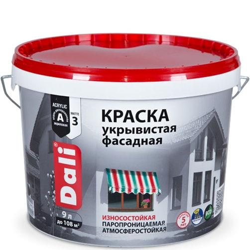 """Фото 17 - Краска Дали """"Фасадная Укрывистая"""" акриловая матовая изностойкая  [9л] Dali."""