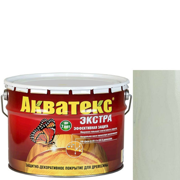 Фото 1 - Антисептик Акватекс Экстра Белый, защитно-декоративный полуглянцевый для древесины [10 л] Рогнеда.