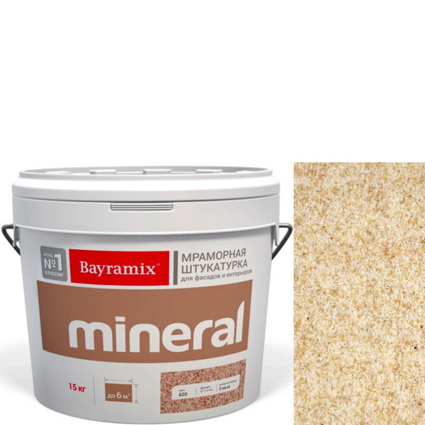 "Фото 1 - Мраморная штукатурка Байрамикс ""Минерал 354"" (Mineral) мозаичная фракция 0,7-1,2 мм  [15кг]  Bayramix."