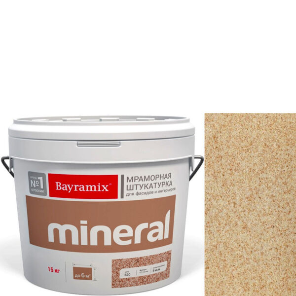 "Фото 1 - Мраморная штукатурка Байрамикс ""Минерал 055"" (Mineral цвет Saftas) мозаичная, фракция 0,5-0,7 мм  [15кг]  Bayramix."