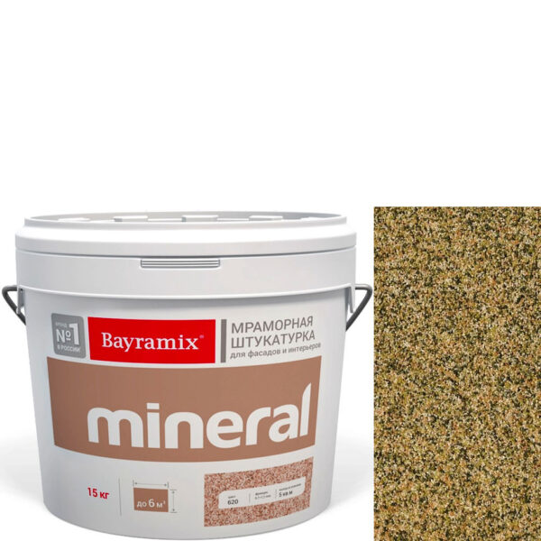 "Фото 1 - Мраморная штукатурка Байрамикс ""Минерал 386"" (Mineral цвет Saftas) мозаичная, фракция 0,7-1,2 мм  [15кг]  Bayramix."