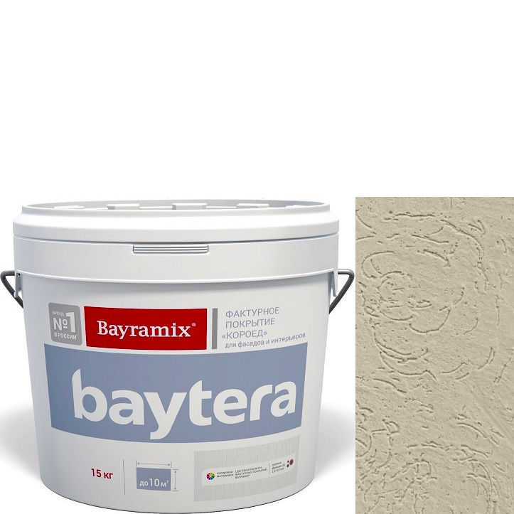 """Фото 4 - Текстурное покрытие """"Байтера Короед 063"""" (Baytera) фактурное для внутр/наружных работ  [крупная фракция (K) 2,5 - 3 мм] [15кг]  Bayramix."""