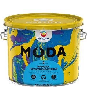 """Фото 1 - Краска Ескаро """"Мода 2"""" (Moda 2)  глубокоматовая для стен и потолков  [9л] цвет [База TR] Eskaro."""