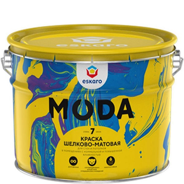 """Фото 5 - Краска Ескаро """"Мода 7"""" (Moda 7) шёлково-матовая для стен и потолков  [9л] цвет [База TR] Eskaro."""