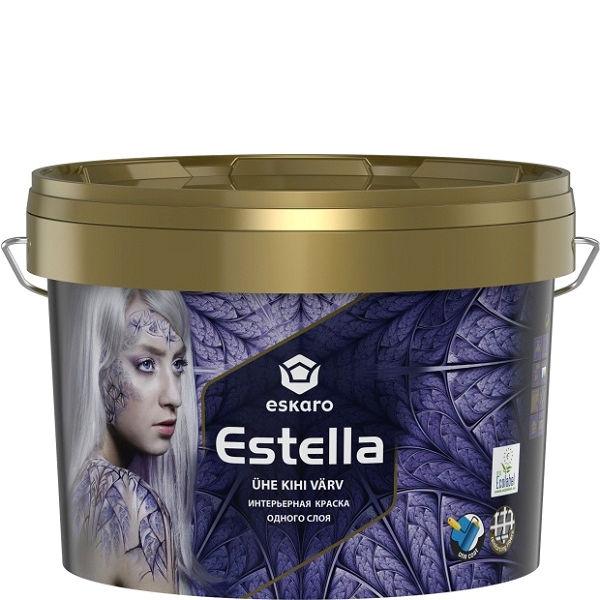 """Фото 1 - Краска Ескаро """"Эстелла"""" (Estella) глубокоматовая, интерьерная одного слоя  [0.9л] цвет [Белоснежная] Eskaro."""