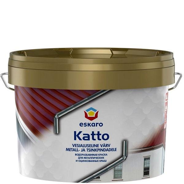 """Фото 1 - Краска Ескаро """"Катто"""" (Katto) матовая для оцинкованных и металлических поверхностей  [0.9л] цвет [База TR] Eskaro."""