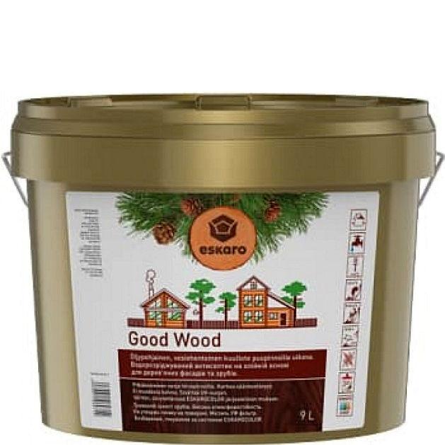 """Фото 1 - Антисептик Ескаро """"Гуд Вуд"""" (Good Wood) Бесцветный, водный на масляной основе для дерева  [9л] Eskaro."""
