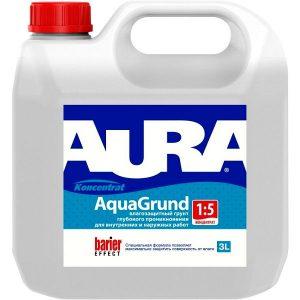 """Фото 4 - Грунт-концентрат """"Аура Аква"""" (Aura Aqua Grunt) акриловый влагоизолятор концентрат 1:5  """"Аура"""" [10л]  [Бесцветный]"""" """"Аура/Aura""""."""