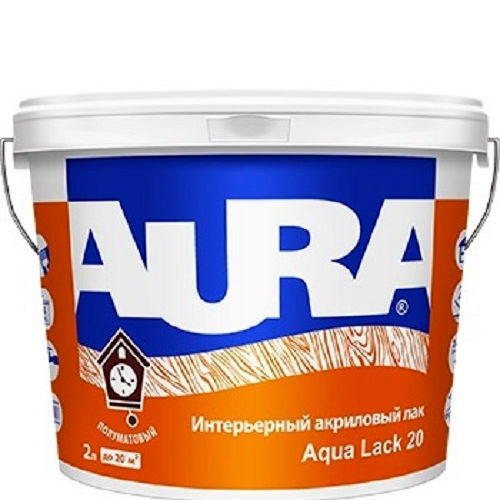 Фото 1 - Лак Aura Aqua Lack 20, акриловый, полуматовый, интерьерный, 2л, Бесцветный, Аура.