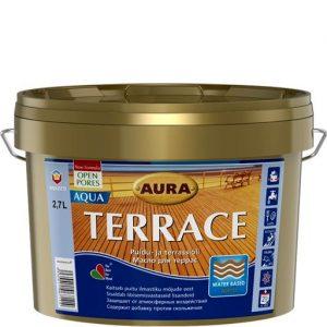 """Фото 1 - Масло """"Террас Аква"""" (Terrace Aqua) бесцветное для наружных деревянных поверхностей  [0,9л]  [Бесцветный]"""" """"Аура/Aura""""."""