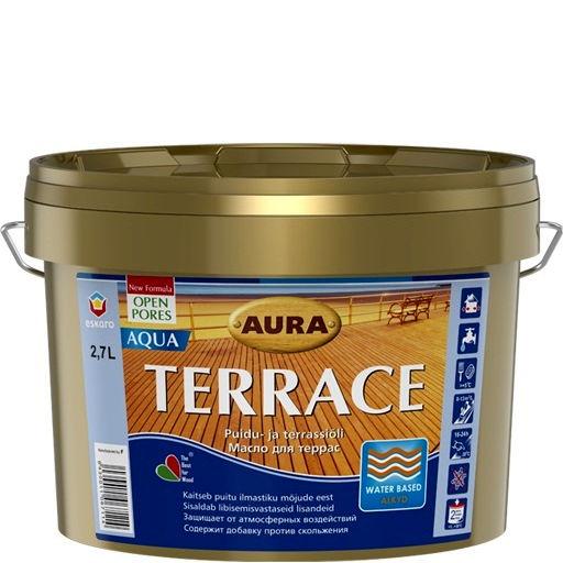 Фото 1 - Масло Aura Terrace Aqua, для наружных деревянных поверхностей 0.9л, Бесцветное, Аура.