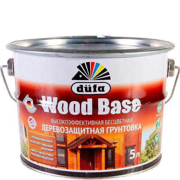 """Фото 1 - Грунт Дюфа """"Вуд База"""" (Wood Base) Бесцветная с биоцидом для древесины [10л] Dufa."""