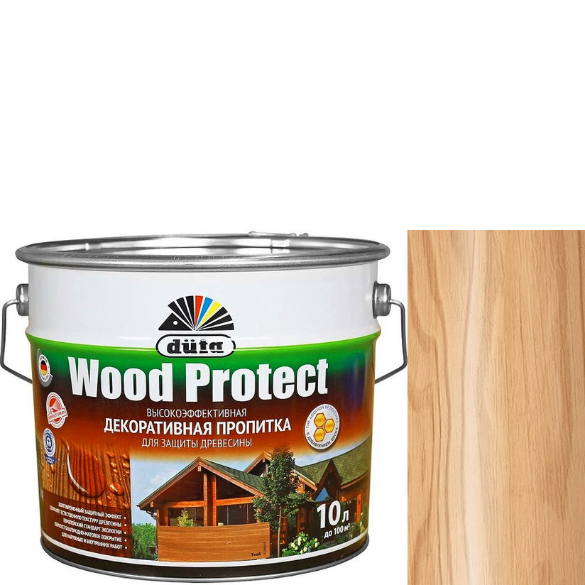"""Фото 19 - Пропитка Дюфа """"Вуд Протект"""" (Wood Protect) Дуб, полуматовая для защиты древесины [10л] Dufa."""