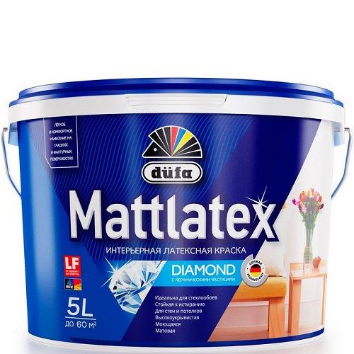"""Фото 1 - Краска Дюфа """"Маттлатекс Д100"""" (Mattlatex D100) в/д матовая белая, для влажных помещений [10л] Dufa."""