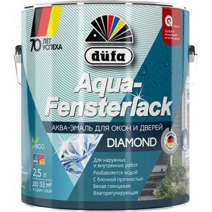 """Фото 1 - Эмаль Дюфа """"Аква Фенстерлак"""" (Aqua-Fensterlack) акриловая глянцевая для окон и дверей  [2.5л] Dufa."""