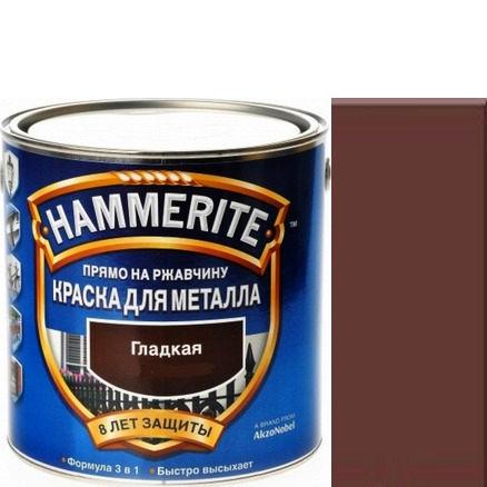 Фото 18 - Краска Хаммерайт Коричневая, RAL 8017 гладкая глянцевая для металла 3 в 1 [2.2л] Hammerite.