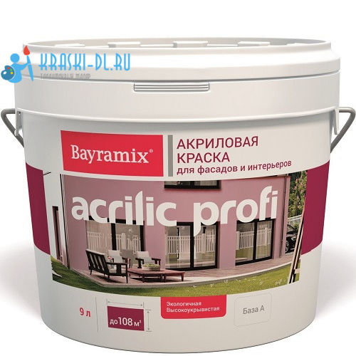 """Фото 1 - Краска Байрамикс """"Акрилик Профи"""" (Akrylik Profi) водоэмульсионная акрил.. матовая [2,7л] База A Bayramix."""
