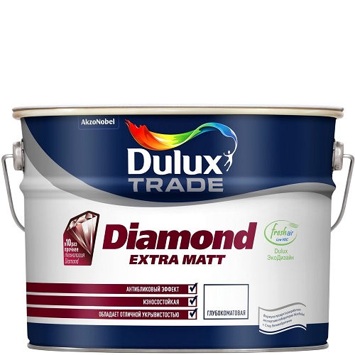 Фото 18 - Краска Дулюкс Diamond Extra Matt, акриловая глубокоматовая износостойкая интерьерная база BW [10л] Dulux.