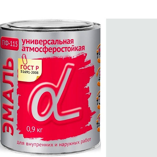 """Фото 5 - Эмаль Альфа Крафор """"ПФ-115 Белая"""" глянцевая, универсальная алкидная  уп - 14 шт, по [0.9кг] Krafor."""
