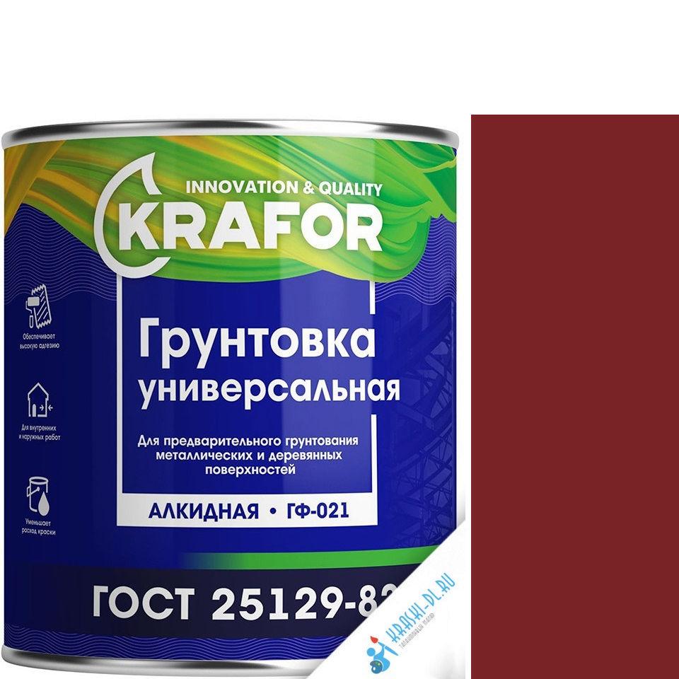 """Фото 1 - Грунт Крафор """"ГФ-021 Красно-коричневый"""" алкидный универсальный  [20кг] Krafor."""