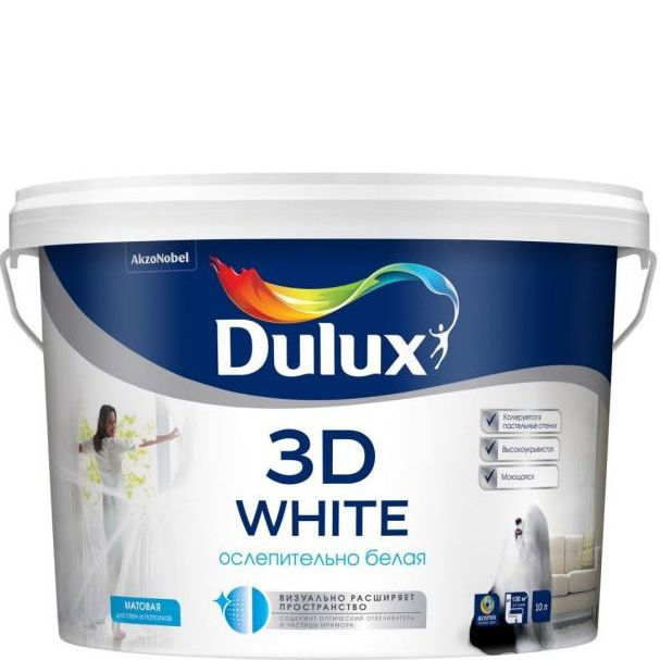 Фото 9 - Краска Дулюкс 3Д Вайт (3D White) акриловая бархатистая интерьерная база BW [10л] Dulux.