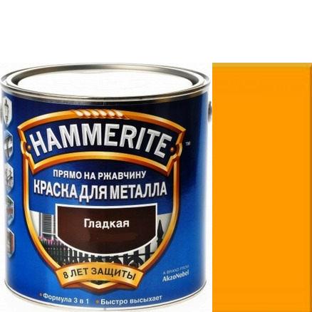 Фото 14 - Краска Хаммерайт Желтая, RAL 1004 гладкая глянцевая для металла 3 в 1 [2.2л] Hammerite.