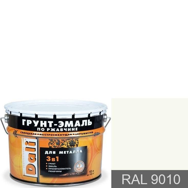 """Фото 5 - Грунт-Эмаль по ржавчине Дали """"RAL 9010 Белый Гладкая"""", глянцевая для металла 3 в 1  [10л] Dali."""