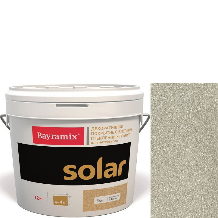 """Фото 14 - Декоративное покрытие Байрамикс """"Солар S246 Серебряное"""" (Solar) с блеском стеклянных гранул [12кг] Bayramix."""