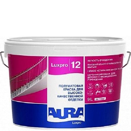 Фото 15 - Краска Aura LuxPRO 12, латексная, шелково-матовая, интерьерная, 9л, База A, Аура.