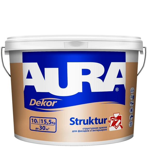 Фото 1 - Краска Aura Decor Structur, структурная, матовая, для фасадов и интерьеров, 10л,, Аура.