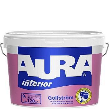 Фото 1 - Краска Aura Interior Golfstrom, особопрочная, матовая, для ванной и кухни, 15л, База А, Аура.
