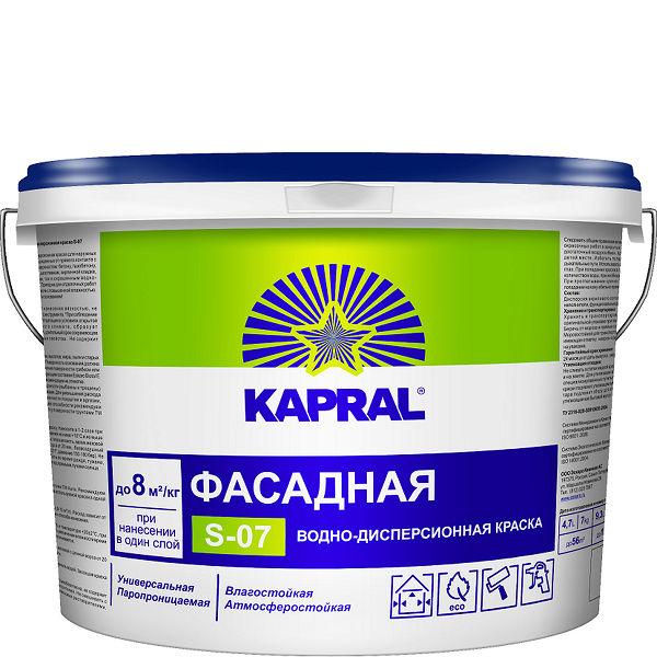 """Фото 3 - Краска Капрал """"S-07"""" фасадная воднодисперсионная матовая  [14кг] Kapral."""
