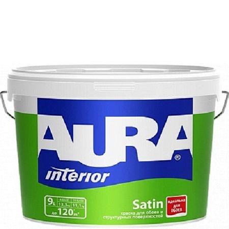 Фото 13 - Краска Aura Interior Satin, латексная, матовая, для обоев под окраску, 9л, База TR, Аура.