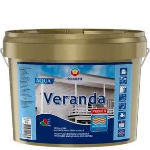 """Фото 8 - Краска Ескаро """"Веранда Праймер Аква"""" (Veranda Primer Aqua) матовая грунтовочная  [2.7л] цвет [Белый] Eskaro."""