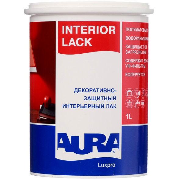 Фото 3 - Лак Aura Interior Lack, акриловый, полуматовый, интерьерный, 1л, Бесцветный, Аура.