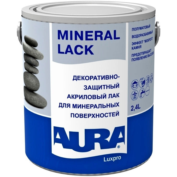 Фото 6 - Лак Aura Mineral Lack, акриловый, полуматовый, для минеральных поверхностей 2.4л, Аура.
