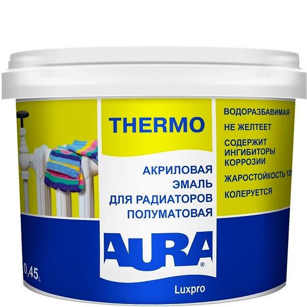 Фото 1 - Эмаль Aura Thermo, акриловая, полуматовая, для радиаторов, 0.45л, Аура.