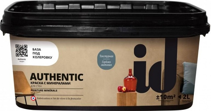 """Фото 1 - Краска АйДи Деко """"Authentic"""" с эффектом минеральной стены  [2л] ID Deco."""