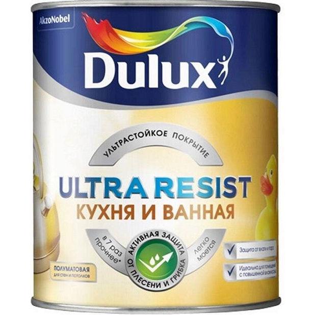"""Фото 22 - Краска """"Dulux"""" Ultra Resis Кухня и Ванная, акриловая моющаяся полуматовая интерьерная база BW [2.5л] Dulux."""