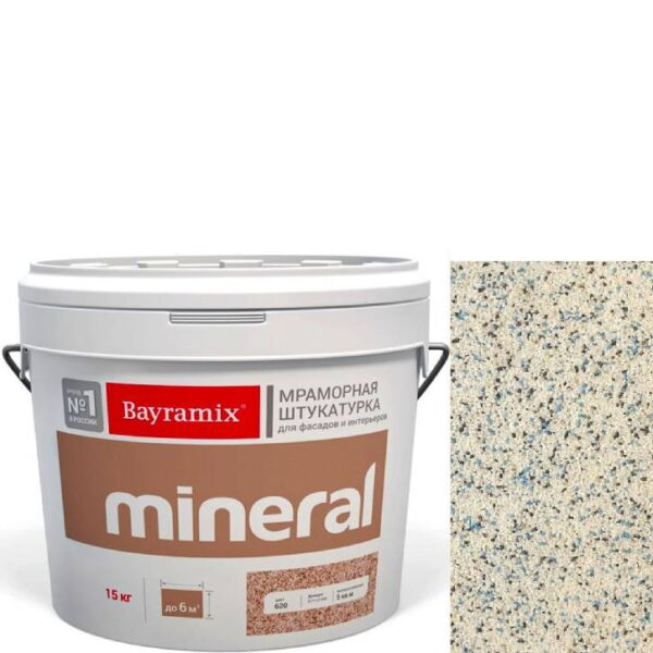 "Фото 1 - Мраморная штукатурка Байрамикс ""Минерал 802"" (Mineral) мозаичная фракция 1,2-1,5 мм  [15кг]  Bayramix."