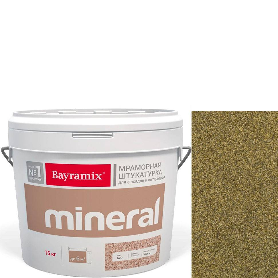 "Фото 11 - Мраморная штукатурка Байрамикс ""Минерал 060"" (Mineral цвет Saftas) мозаичная, фракция 0,5-0,7 мм [15кг] Bayramix."