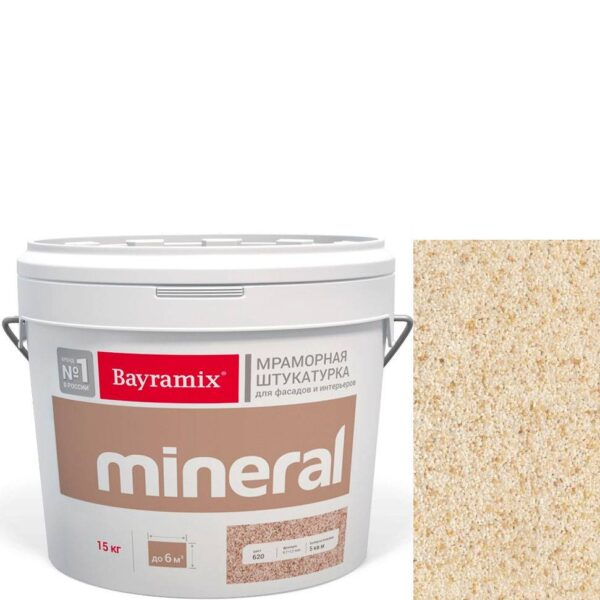 "Фото 1 - Мраморная штукатурка Байрамикс ""Минерал 856"" (Mineral цвет Saftas) мозаичная, фракция 1,2-1,5 мм  [15кг]  Bayramix."