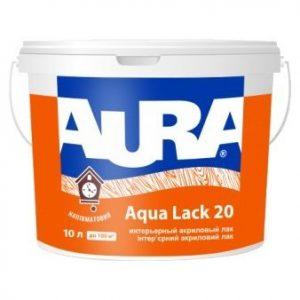"""Фото 2 - Лак """"Аура Аква лак 20"""" (Aqua Lack 20) акриловый бесцветный полуматовый интерьерный  [9л]   """"Аура/Aura""""."""
