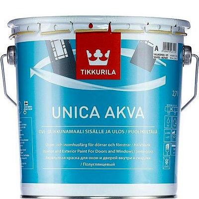 """Фото 15 - Краска Тиккурила """"Уника Аква""""(Unica Akva Maali) акрилатная глянцевая для окон и дверей  (База А) (2.7л) """"Tikkurila""""."""